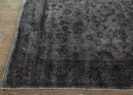 rugsville dark grey overdyed 12264 wool rug