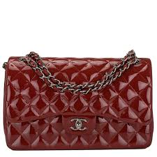 chanel bags classic red. chanel classic quilted double flap patent jumbo bag in dark red image 1 bags