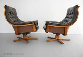 ebay leather armchairs. mid century armchairs x2 danish deluxe leather swivel rocker recliner bentwood retro vintage lounge chair pair ebay