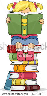 ilration of a little kid sitting on pile of books while reading a book