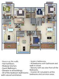 1 bedroom with walk in closet 1 full bathroom 2 guest bathrooms living room dining room kitchen laundry entertainment room great deck