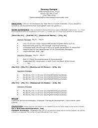 Restaurant General Manager Resume Food Service Growth Sample Of Server Resume Resume For A Server 100