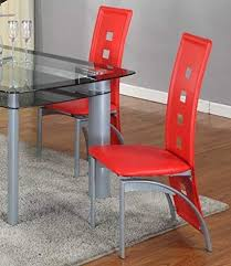 roundhill furniture cinda metal contemporary dining room chairs red set of 2