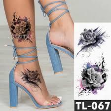 эскиз крест перо с изображением цветов переводные наклейки татуировки для