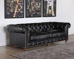 sf209 tufted leather sofa in saddle black with nailhead trim