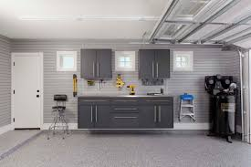 Floor To Ceiling Garage Cabinets Granite Workbench Stainless Steel Counter Gray Slat Wall Garages