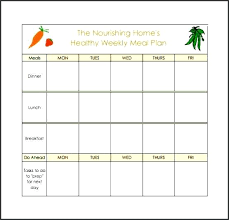 monthly meal planner template monthly meal planner template excel healthy weekly meal planning