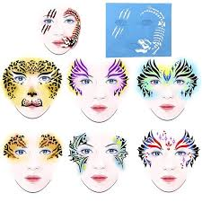 hot 7pcs reusable soft face paint stencil design make face painting temporary tattoo template