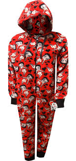 Betty Boop Red Plus Size Plush Onesie Hoodie Pajama