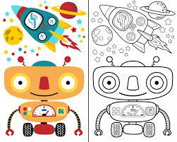coloring book vector with robot e cartoon premium vector