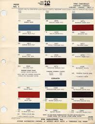 Chevy Stock Chart 1967 1969 Camaro Factory Paint Charts