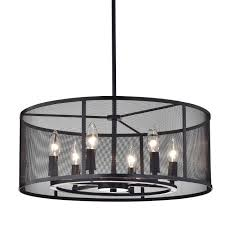 aludra round metal mesh shade 6 light pendant chandelier oil rubbed bronze
