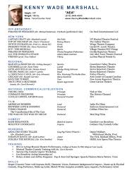 Actor Resume Gorgeous Kenny Wade Marshall Acting Resume