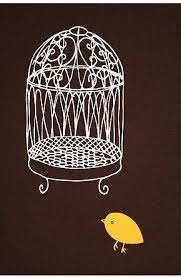 chris rubino brown and yellow birdcage wall art