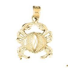 14k or 18k gold crab pendant