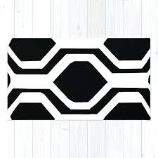 black and white geometric rug navy blue bold