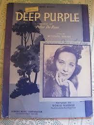 Deep Purple Vocal Edition Sheet Music Peter De Rose Robbins Music Doris  Rhodes | eBay