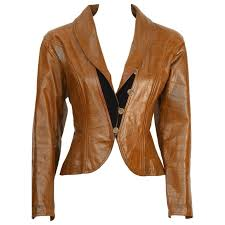 1980 s ungaro croc embossed brown leather jacket for