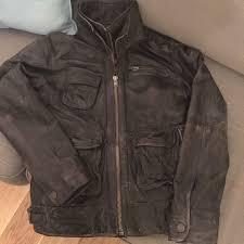 superdry brown leather biker jacket extra large mens superdry superdry superdry