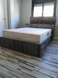 Pallet Bedroom Furniture Rustic Look Giant Pallet Bed With Storage Wood Pallet Furniture