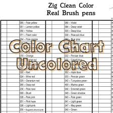 Kuretake Zig Clean Color Real Brush Pens Color Chart 90 Colors