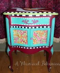 Whimsical furniture and decor Humorous Whimsical Bohemian Whimsical Bohemian Panited Furniture Painted Furniture