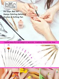 Amazon.com: BMC 20pc Nail Art Design Painting Brushes & Dotting ...