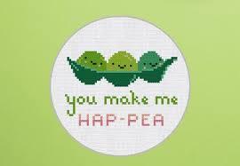 Cross Stitch Pattern You Make Me Hap Pea Instant Download