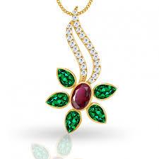 flower shape emerald ruby pendant