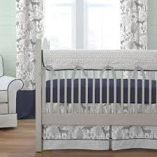 navy and gray woodland crib bedding