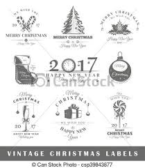 Set Of Vintage Christmas Labels Posters Stamps Banners And Design