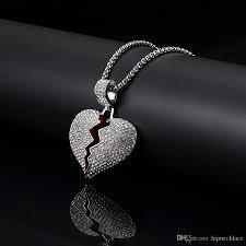 whole men hip hop heart pendant chain necklace gifts for men fashion jewelry gold silver color pendant 75cm long chain design punk necklace key pendant