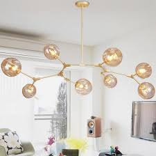 glass ball branching bubble pendant chandeliers for dining room living room modern chandelier lighting re led
