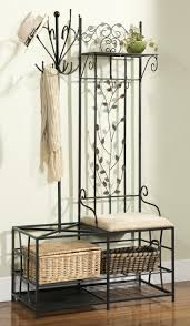 Metal Entryway Bench With Coat Rack Black Finish Metal Hallway Storage Bench With Coat Rack Umbrella 4