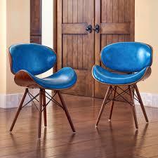 dining mid century teal accent chair walnut finish armless blue color dining room chairs dining