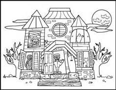 Small Picture Haunted House Printable Halloween Kids Coloring Page Fall