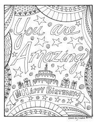 Gelukkige Verjaardag Kleurplaat Je Bent Amazing Etsy