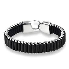 cool black leather bracelet for men handmade with titanium steel and black leather pulseras