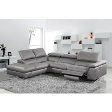 modern leather sofa. Divani Casa Maine Modern Dark Grey Eco-Leather Sectional Sofa W/ Recliner Leather