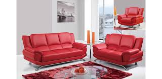 Modern Sofa For Living Room Mesmerizing Geneva Leather Sofa Set Of 48PC Red U48 R Global Furniture
