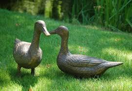 pair of ducks antique bronze statue large garden ornament