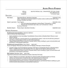Latex Physics Resume PDF Free Download