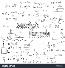 newton law theory physics mathematical formula stock vector and equation doodle handwriting icon in white isolated