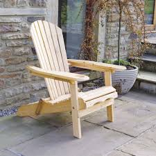 trueping garden patio adirondack newby arm chair with slide away leg rest natural wood finish outdoor or indoor use co uk garden outdoors