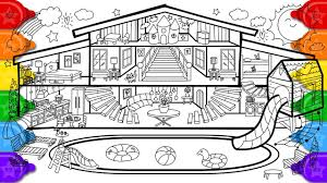 It is relatively simple to draw a house with just a few lines. Glitter Pool House Coloring And Drawing For Kids How To Draw A Glitter Pool House Coloring Page Youtube