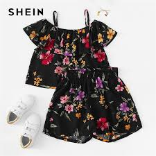 Us 14 49 42 Off Shein Kiddie Black Cold Shoulder Ruffle Floral Print Top And Shorts Teenage Girls Clothing Set 2019 Summer Beach Kids Clothes In