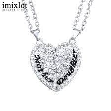mother and daughter jewelry set fashion full rhinestone heart puzzle pendant necklace for family gifts in