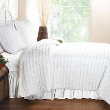 Greenland Home Ruffled White Twin Quilt Set & Greenland Home Ruffled White King Quilt Set Adamdwight.com