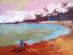 landscape painting a small sized colourful landscape of a beach by eghosa raymond akenbor