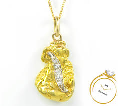 24k yellow gold nugget diamond pendant 6 10 grams necklace charm